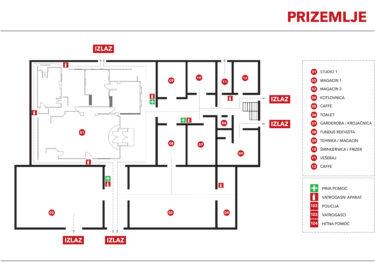 Raspored prostorija - Prizemlje